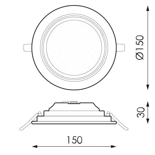 9W LED panelė KENTAU R matmenys