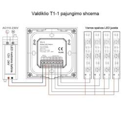 Sieninis sensorinis LED valdiklis T1-1B pajungimas