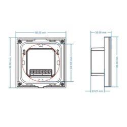 Sieninis sensorinis RGB LED valdiklis T3 matmenys