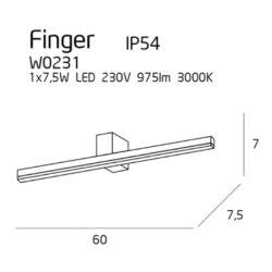 Sieninis šviestuvas FINGER60 BK