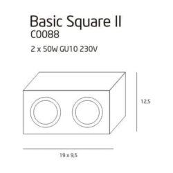 Lubinis kryptinis šviestuvas Basic Square 2WH