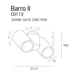 Lubinis kryptinis šviestuvas Barro 2 WH